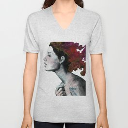 Moral Red Eclipse (colorful hair woman with moths tattoos) Unisex V-Neck