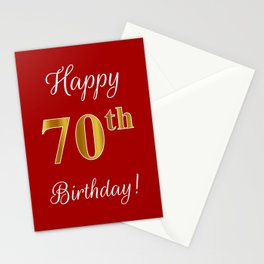 "Elegant ""Happy 70th Birthday!"" With Faux/Imitation Gold-Inspired Color Pattern Number (on Red) Stationery Cards"