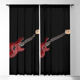 Bass guitar in cherry-colored wood on a black background Blackout Curtain