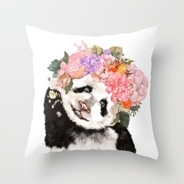 Baby Panda with Flowers Crown Throw Pillow