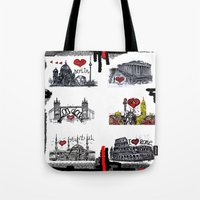 cities Tote Bags featuring Cities 2 by sladja