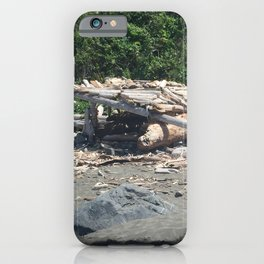 Hut made of driftwood at Klamath Beach iPhone Case