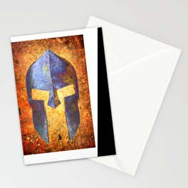 Blue Spartan Helmet On Rust Background - Molon Labe Stationery Cards