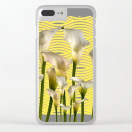 Grey & Yellow Pattern Calla Lilies Art Clear iPhone Case