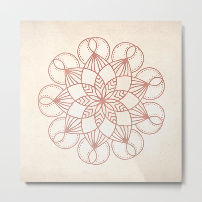 Mandala Blooming Rose Gold on Cream Metal Print