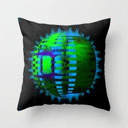 Green Layered Star in Aqua Flames Throw Pillow