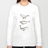 whales Long Sleeve T-shirts featuring Whales by dreamshade