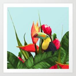 Toucan Tropical Banana Leaves Bouquet Art Print