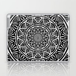 Black and White Simple Simplistic Mandala Design Ethnic Tribal Pattern Laptop & iPad Skin