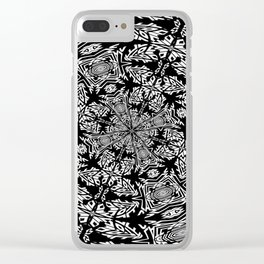 Fallen Leaves Black and White Kaleidescope Clear iPhone Case