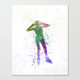 Woman in roller skates 04 in watercolor Canvas Print