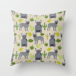 Frenchie french bulldog grey cactus desert southwest dog breed by pet friendly Throw Pillow