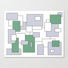 Squares - gray, green and white. Canvas Print