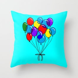 A Bouquet of Balloons with a Blue Background Throw Pillow