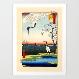 Cranes Japanese Woodblock Ukiyo-e Art Print