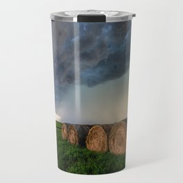 Time to Bale - Storm Over Rows of Round Hay Bales in Kansas Travel Mug