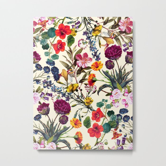Magical Garden V Metal Print - floral Square Metal Wall Art