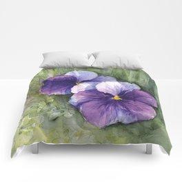 Purple Pansies Watercolor Flowers Painting Violet Floral Art Comforters
