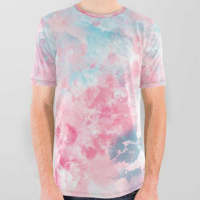 Modern_Christmas_pastel_pink_ice_blue_watercolor__brushstrokes_All_Over_Graphic_Tee_by_Girly_Trend__Small