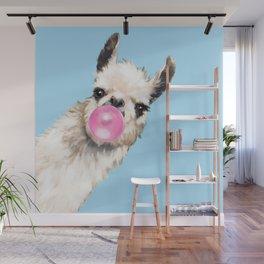 Bubble Gum Sneaky Llama in Blue Wall Mural