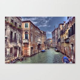 Boats & Gondola down a street canal off the Grand Canal in Venice, Italy Canvas Print