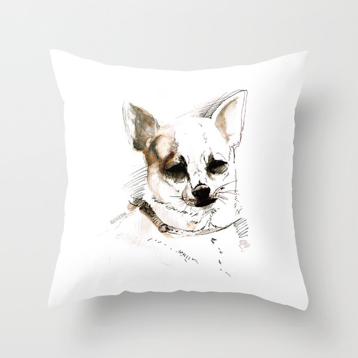 Chihuahua on Watercolor (TOPOS) Throw Pillow