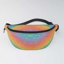 Colorful Liquid Holographic Pattern Abstract Rainbow Waves Fanny Pack