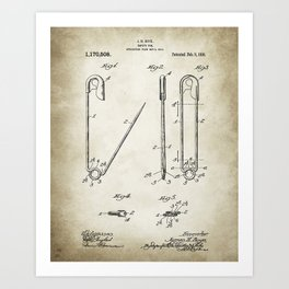 Safty Pin Patent Drawing Art Print