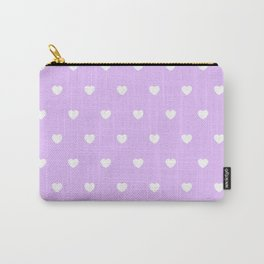 HEARTS ((white on lilac)) Carry-All Pouch