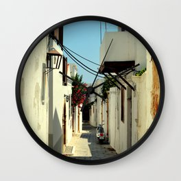 Street in Lindos Wall Clock