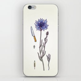blue cornflower and knife iPhone Skin