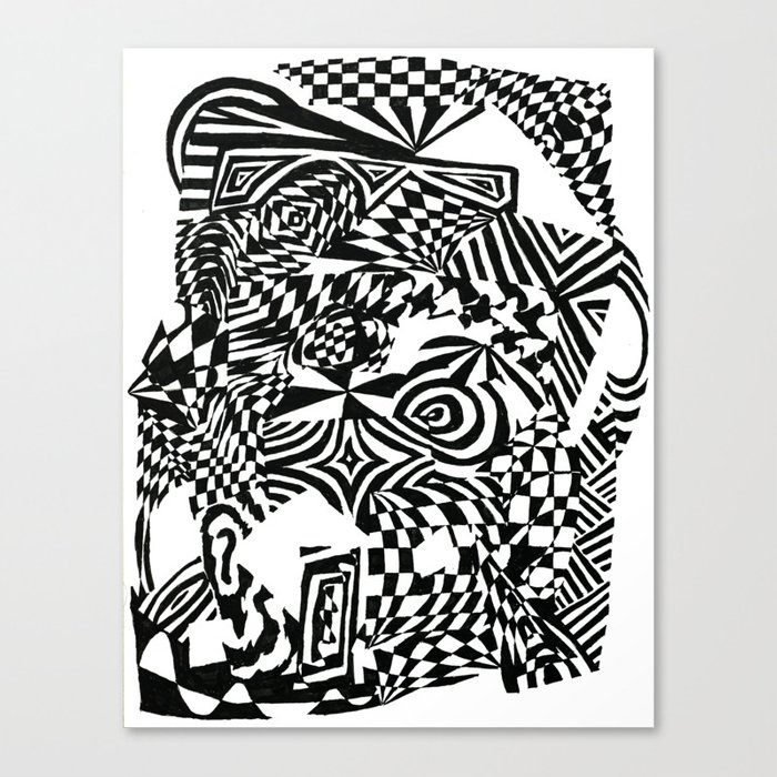 Face Black White Abstract Ink Drawing Canvas Print By Wlaves