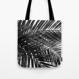 Tropical Palm Leaves - Black and White Nature Photography Tote Bag