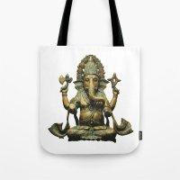ganesha Tote Bags featuring Ganesha by Justin Atkins