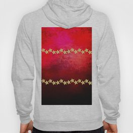 Red and black textured background decorated with gold flowers Hoody