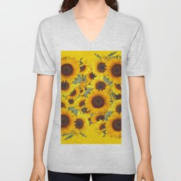 DECORATIVE WESTERN YELLOW SUNFLOWERS FIELDS Unisex V-Neck