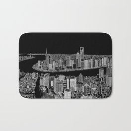 Shanghai in BW Bath Mat