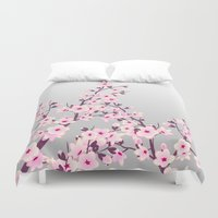cherry blossoms Duvet Covers featuring Cherry Blossoms by Nina Baydur