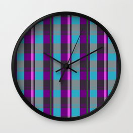 Colored Squares and Checks Wall Clock