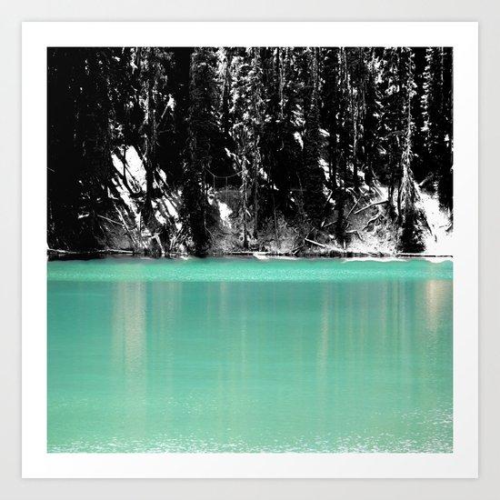 Green Water, Black and White Art Print