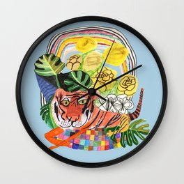 Tiger relaxing Wall Clock