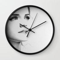 emma watson Wall Clocks featuring Emma Watson Minimal Drawing by Ileana Hunter