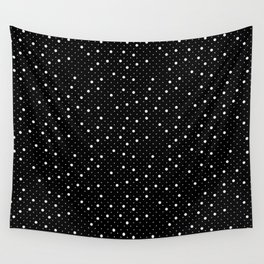 Pin Point Polka White on Black Repeat Wall Tapestry