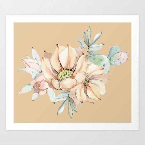 Desert Cactus Flower Apricot Coral Art Print