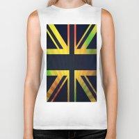 british flag Biker Tanks featuring RASTA BRITISH FLAG by shannon's art space