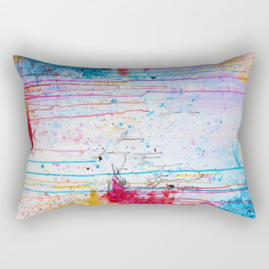 HAPPY TEARS Bright Cheerful Abstract Acrylic Painting, Drip Splat Bold Pink Red Purple Spring Art Rectangular Pillow