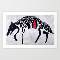 red riding hood Art Prints featuring L'il Red Riding Hood by Becca Thorne