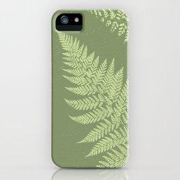 Dark olive fern iPhone Case