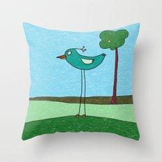 Tall Bird and a Tree Throw Pillow
