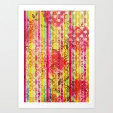 Retro Pattern Collage Art Print